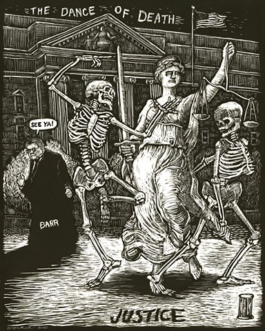 John martinek editorial cartoon illustration justice dance of death