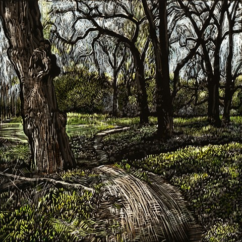 john martinek Pen and Ink landscape clayboard coralville