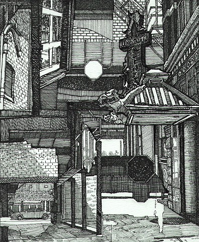 cedar rapids, pen and ink, john martinek