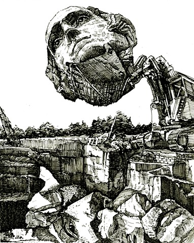 John Martinek Pen and Ink drawing Mt.Rushmore