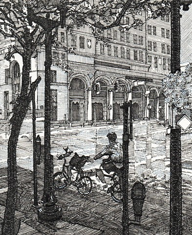pen and ink drawing, cedar rapids, john martinek