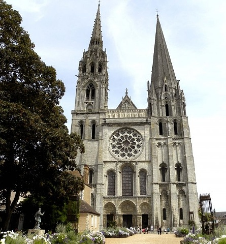The medieval Cathedral of Our Lady of Chartres, (French: Cathédrale Notre-Dame de Chartres)-  Southwest of Paris, France.