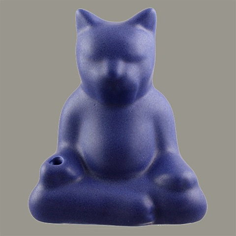 *BUDDHA CAT INCENSE HOLDER (Cobalt)*
