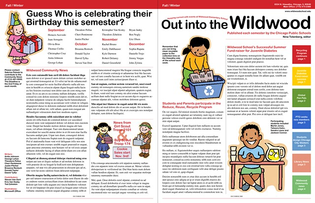 Wildwood School newsletter, front and back