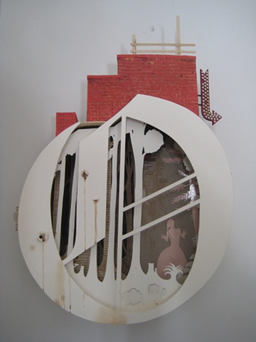 assemblage, collage, sculpture, paint, brush and ink, once, solo show, fairy tale