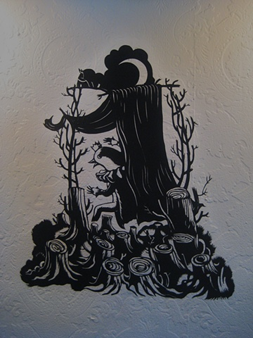 paper cut-out fairy tales solo show black museum board Portland Oregon
