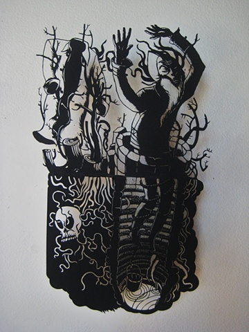 paper cut-out, museum board, solo show, Portland OREGON, fairy tales, Coffeehouse NW