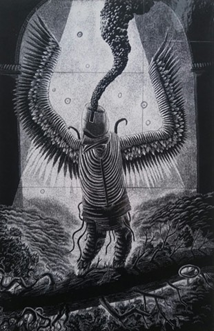 Scratchboard piece dealing with mythology.