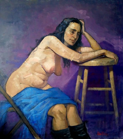 Nude in Blue and Purple