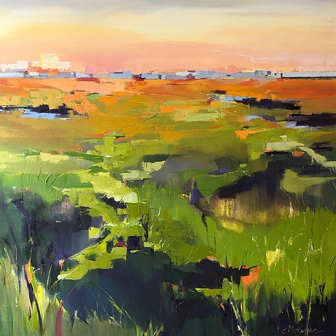Abstract oil marsh painting sunset greens and oranges Charleston SC