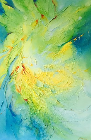 Abstract turquoise lime and yellow oil painting with tissue paper and netting texture