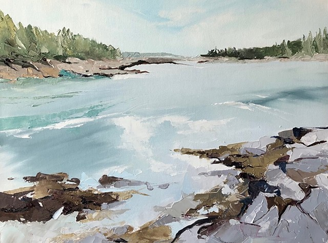 Landscape oil painting Maine pale turquoise stream green pines silver rocks shoreline