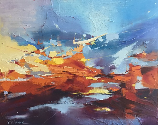 Abstract sky painting sunset orange red yellow and blue sky with palette knife texture