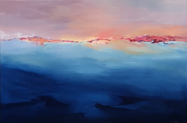 Large abstract landscape in blue and pinks with impasto horizon in red and orange