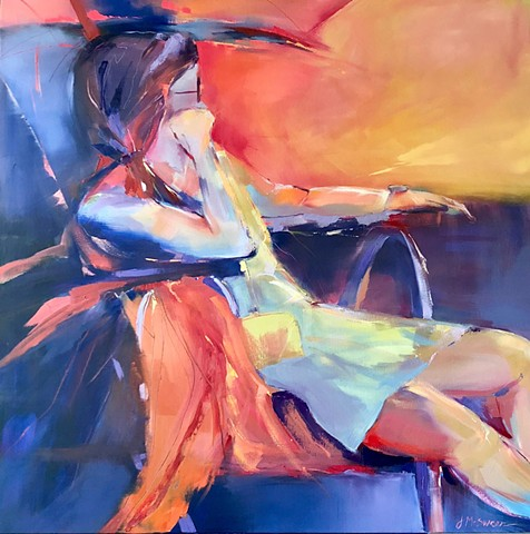 Reclining figure in red orange and blue oils showing palette knife texture