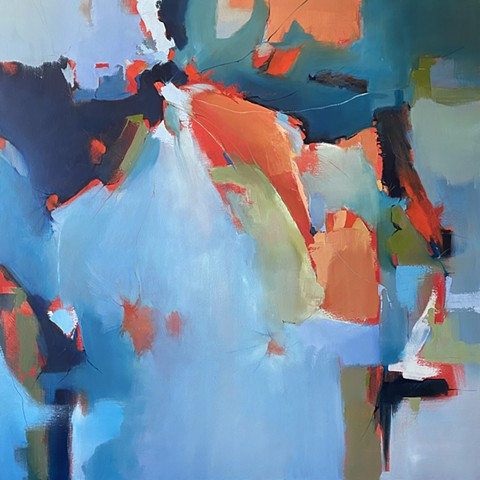 Large blue, turquoise, orange abstract oil painting