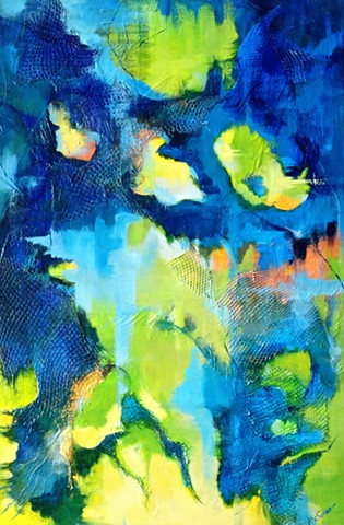 Abstract navy lime and yellow oil painting with netting and palette knife texture