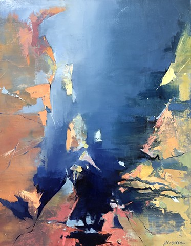 Abstract oil blues and yellow orange Palette knife edges inspired by Grand Canyon ridges and colors