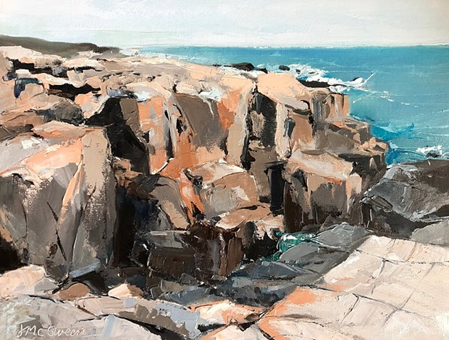 Palette knife oil painting rocky Maine coastline turquoise water gray tan brown ivory