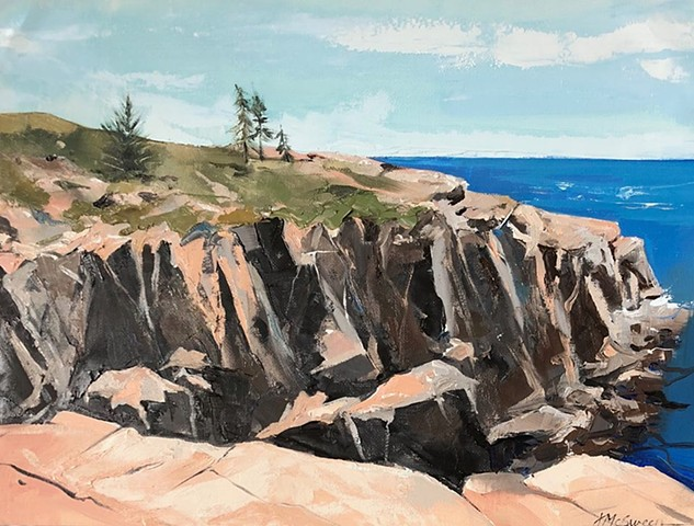 Landscape painting Maine coastline blue water gray tan green rocks cliffs