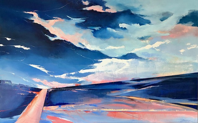 Abstract landscape blue pink clouds over navy horizon and coral pink highway