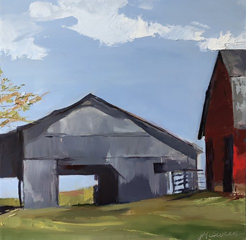 Red and gray barns Kentucky landscape acnes in oil by J McSween