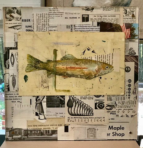 Original mixed media fish art rainbow trout with vintage catalog pages