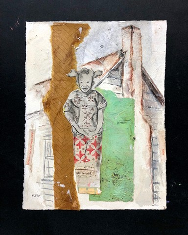 Mixed media art with vintage paper & drawing of girl and house on paper