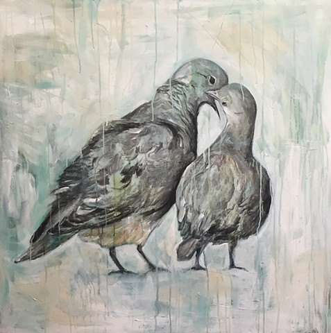 Bird Painting by Katherine McClure, Love Birds on canvas