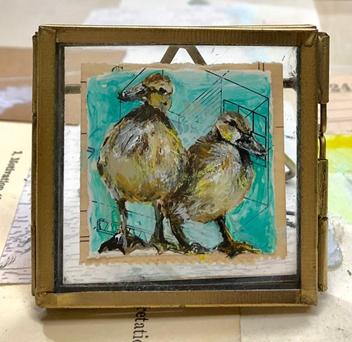 Mini original art mixed media ducklings framed by Katherine Bell McClure