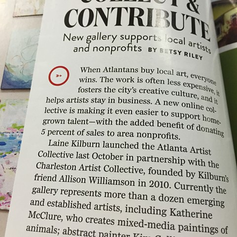 Featured in Atlanta Home magazine, Atlanta Artist Collective article, 2015.