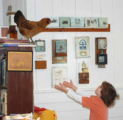 Chicken and Child in the Artist's Studio by Katherine Bell McClure