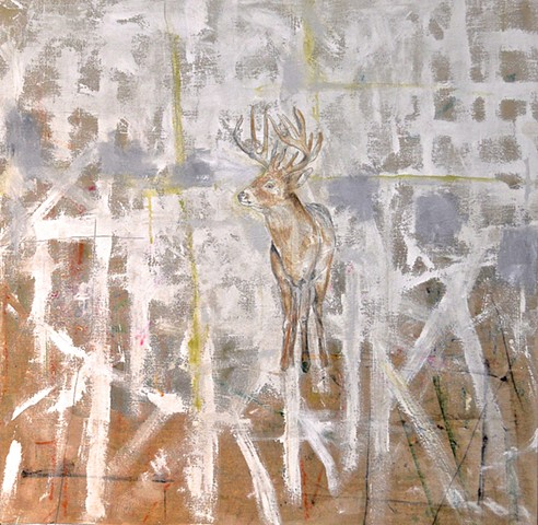 Deer, Buck, Antlers Painting on Linen by Atlanta Artist, Katherine Bell McClure
