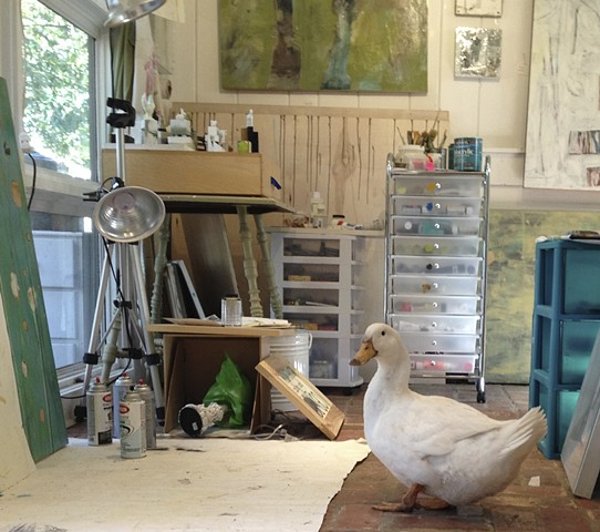 Pet Duck in the Art Studio of Katherine Bell McClure