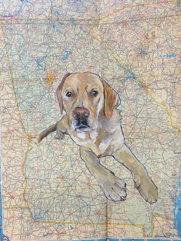 Atlanta pet portrait artist Katherine Bell McClure map art
