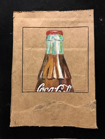 Bottle of Coke on paper bag by Atlanta Artist Katherine Bell McClure