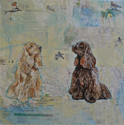 Mixed Media Dog Portrait by Katherine Bell McClure