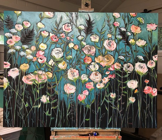 Original artwork, large field of flowers painting by Katherine Bell McClure