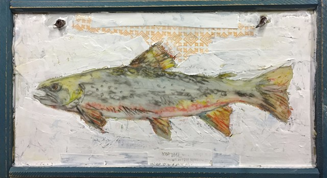 rainbow trout Fishing painting with fishing rod by Katherine Bell McClure KGPBMc