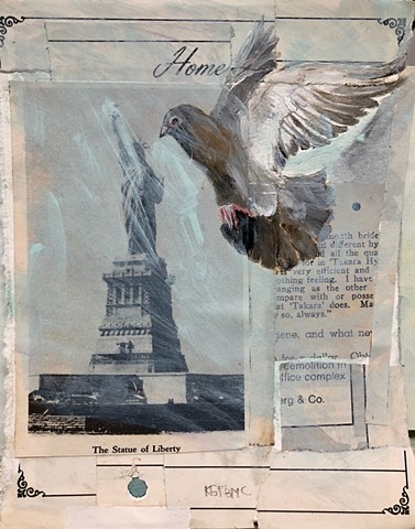 Statue of Liberty and Homing Pigeon painting by Katherine Bell McClure NYC