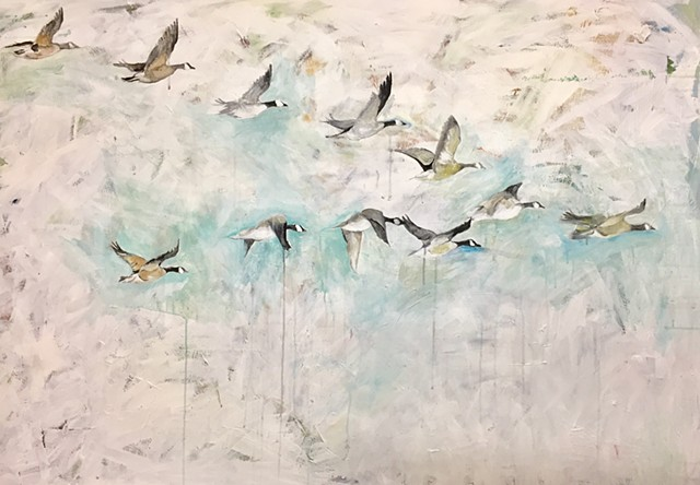 large bird painting geese flying in a v