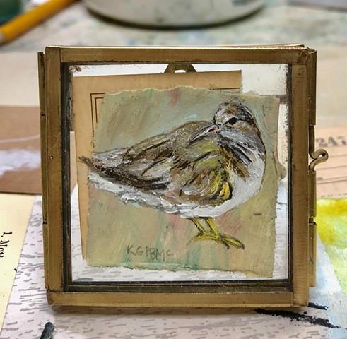 Little Beach Bird original mixed media painting in frame by Katherine Bell McClure