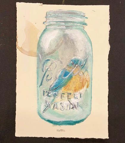 Vintage Ball Jar, Perfect Mason Jar painting with Bluebird by Katherine Bell McClure