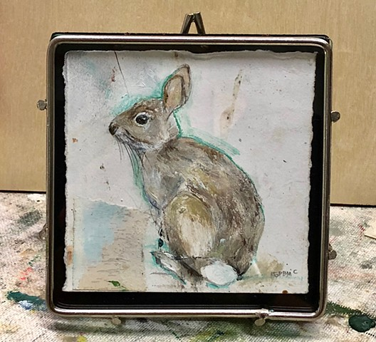 Original painting of bunny rabbit on paper in table top frame - best gift ever