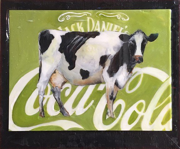 Original Jack Daniels Coca Cola and Cow by Atlanta Artist Katherine Bell McClure