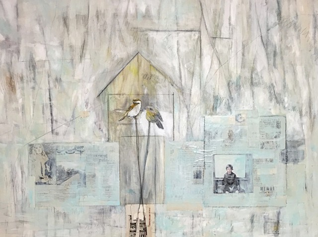 birds and bird house mixed media art