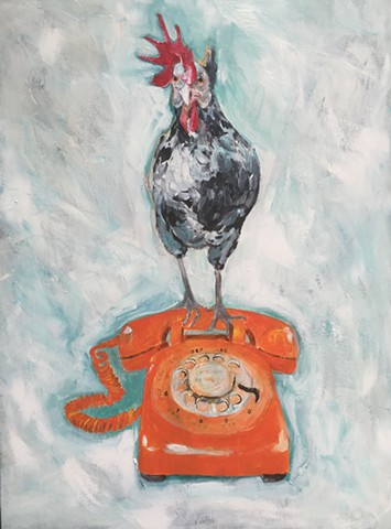 On The Phone / Rotisserie Chicken painting by artist, Katherine Bell McClure