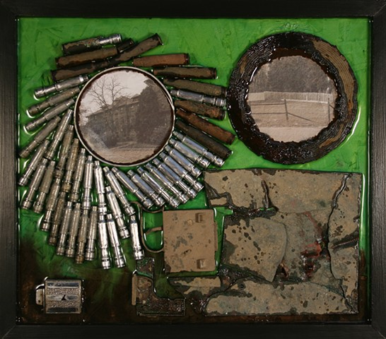 Mixed media, mixed media sculpture, mixed media hanging wall relief, metal detecting, metal detecting detritus, relief sculpture, Northeastern Pennsylvania art, Scranton artist, sculpture, Denis A. Yanashot sculptor artist, sculptor Denis A. Yanashot