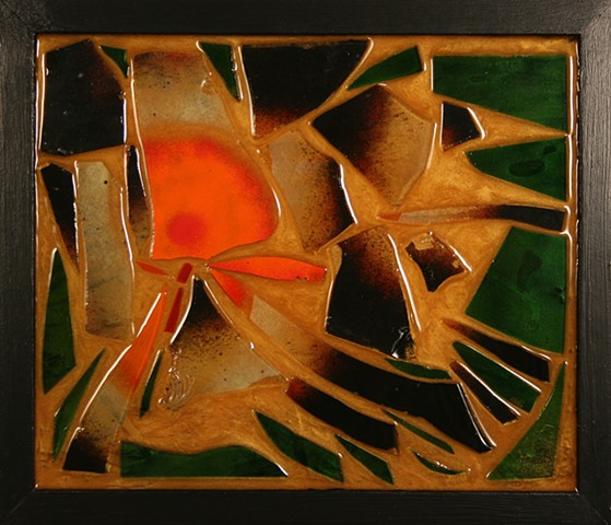 Mixed Media Mosaic (wood, acrylic paint, stained glass, enameled glass, epoxy resin, mica powder), Denis A. Yanashot, Sculpture Yanashot, Scranton Pennsylvania sculptor,