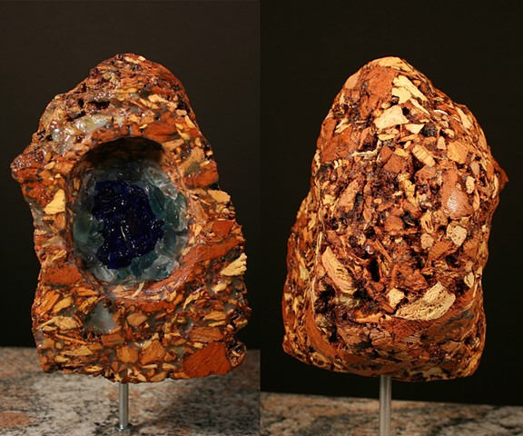 This is the third piece in the Geode Series.  It is composed of a carved Marvine Colliery burnt culm clump, Lackawanna River detritus glass, silicone caulk, silicone rubber and polyurethane.